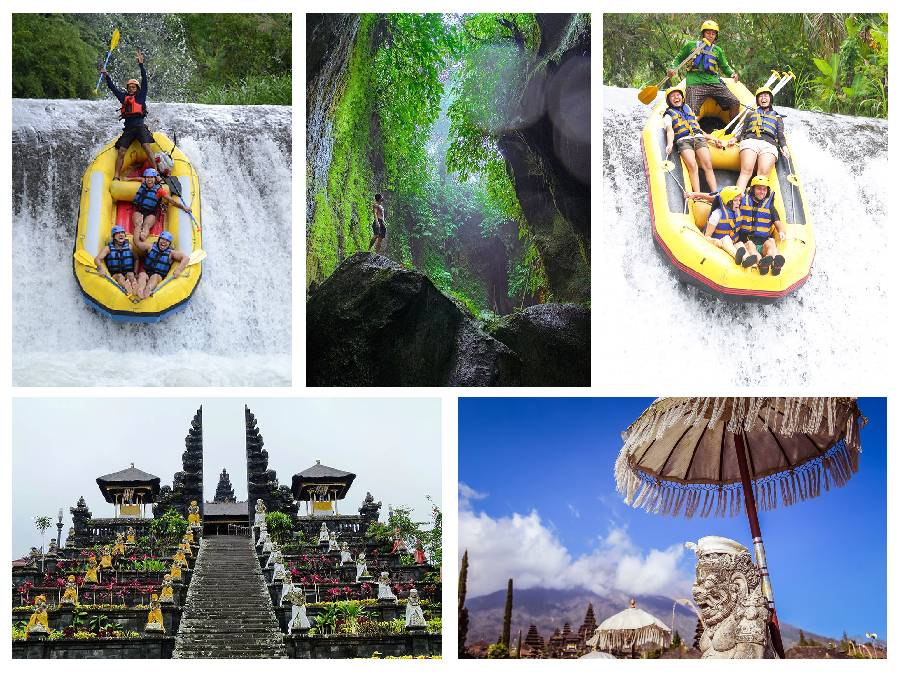 Bali Private Tour of Besakih Temple, Tukad Cepung Waterfall and Telaga Waja Rafting